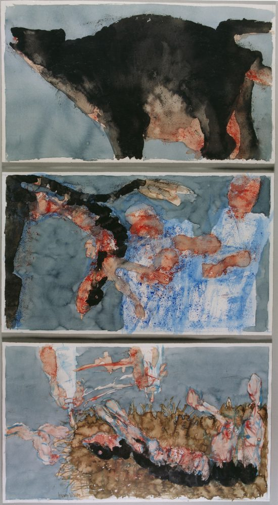 Harry Visser | Geboorte van het kalfsvlees drieluik | aquarel