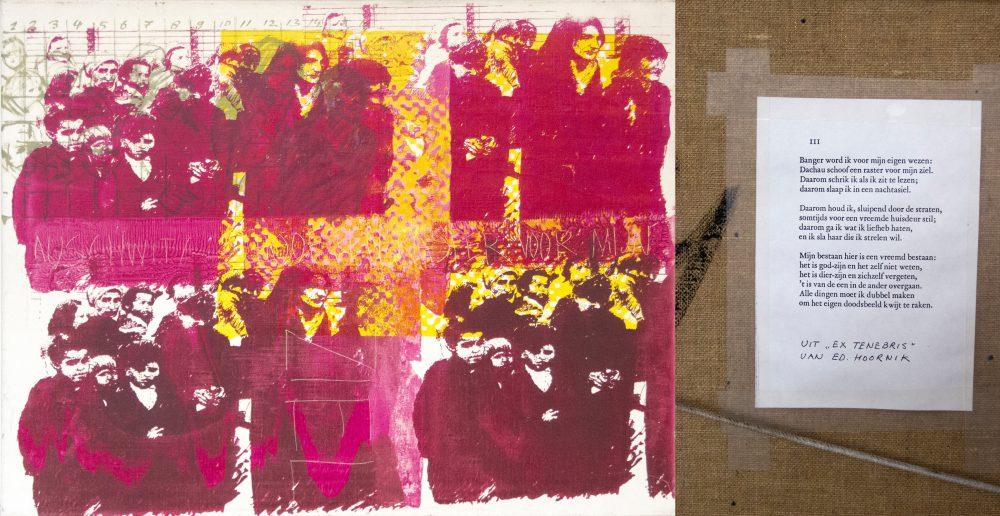 Harry Visser | Auschwitz (met gedicht van Ed Hoornik op achterzijde) 1981 | acryl | 80 x 100 cm
