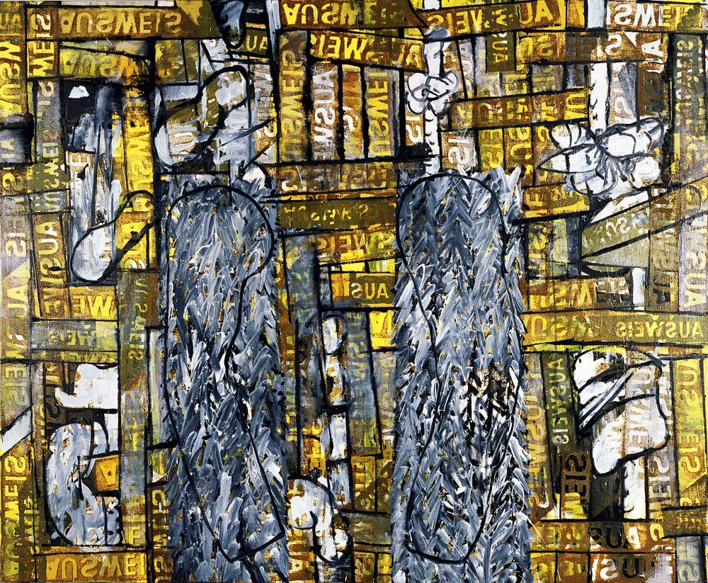 Harry Visser | Zelfportret met bontjas ca. 1989 | olieverf | 160 x 180 cm