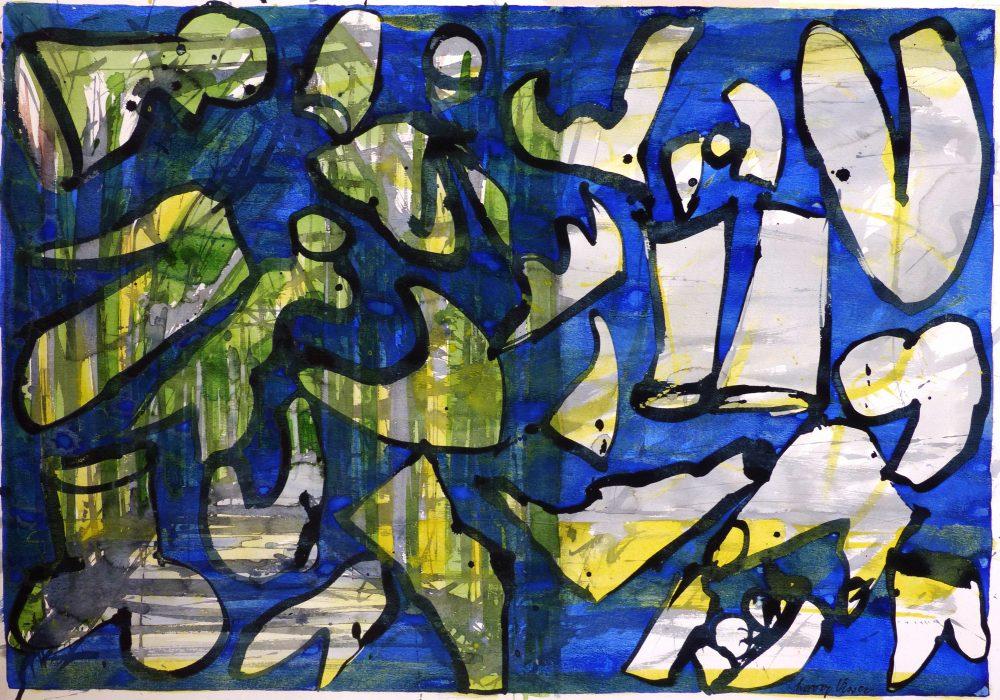 Harry Visser   Bladvormen blauw   collage, acryl, aqua