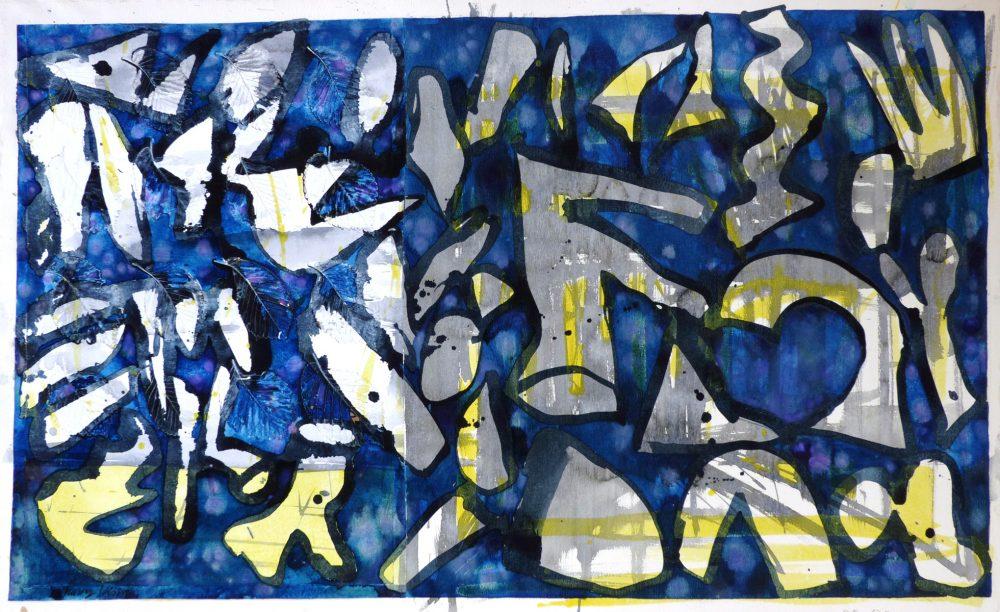 Harry Visser   Bladvormen blauw 2   collage, acryl, aqua