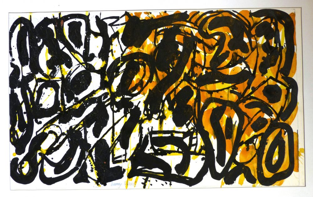 Harry Visser   Bladvormen geel   aquarel