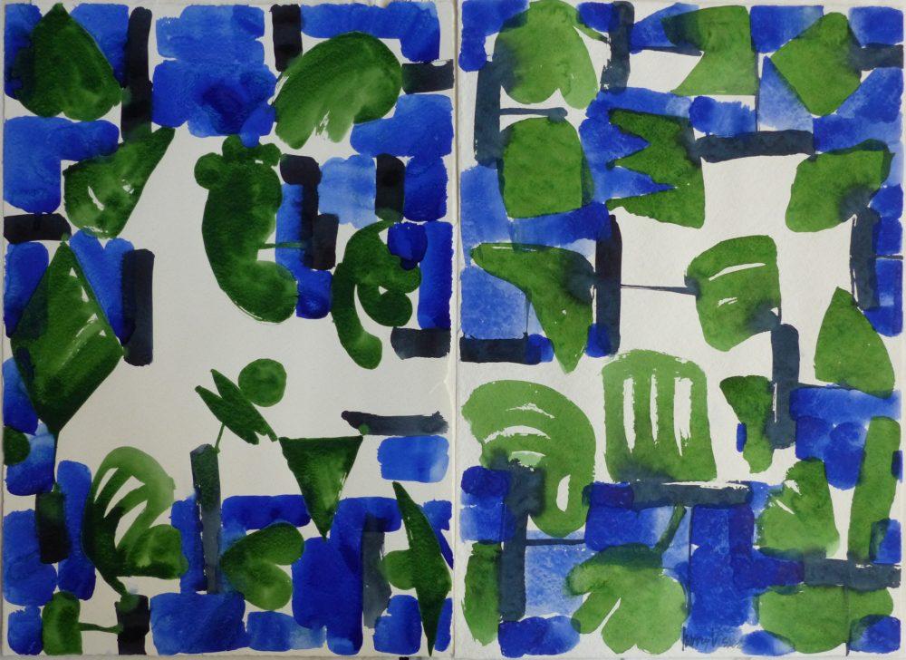 Harry Visser   Bladstructuur groen blauw   aquarel dubbel