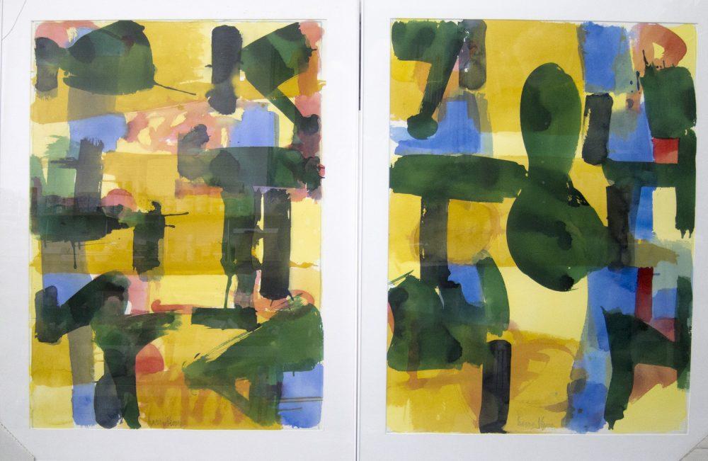 Harry Visser   Bladstructuur geel blauw   aquarel dubbel