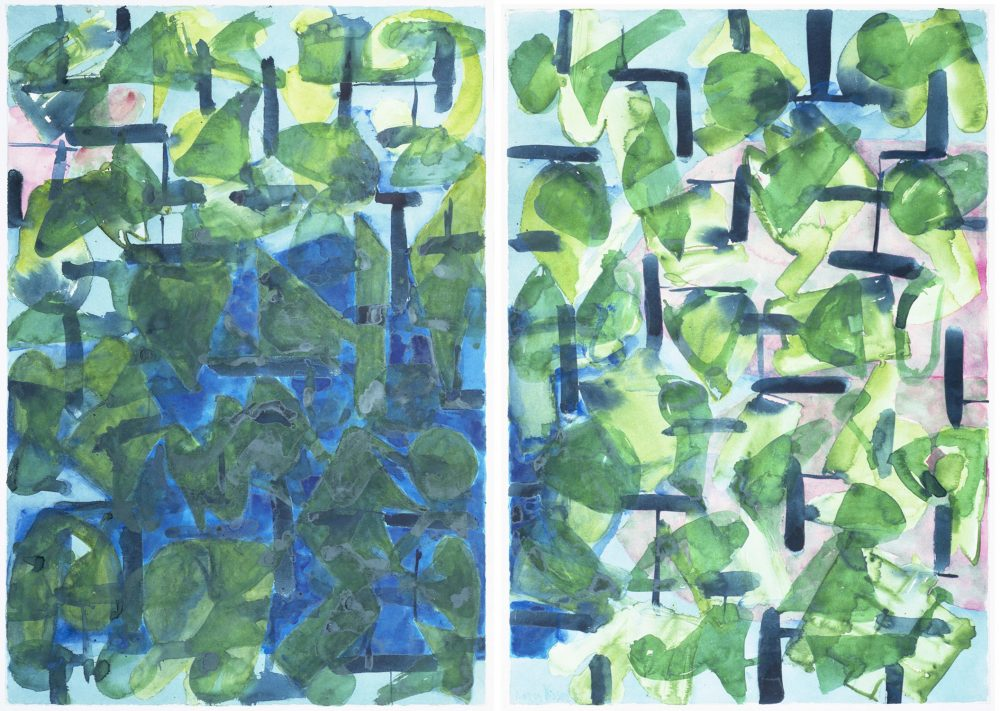 Harry Visser   Bladstructuur blauw groen   aquarel dubbel