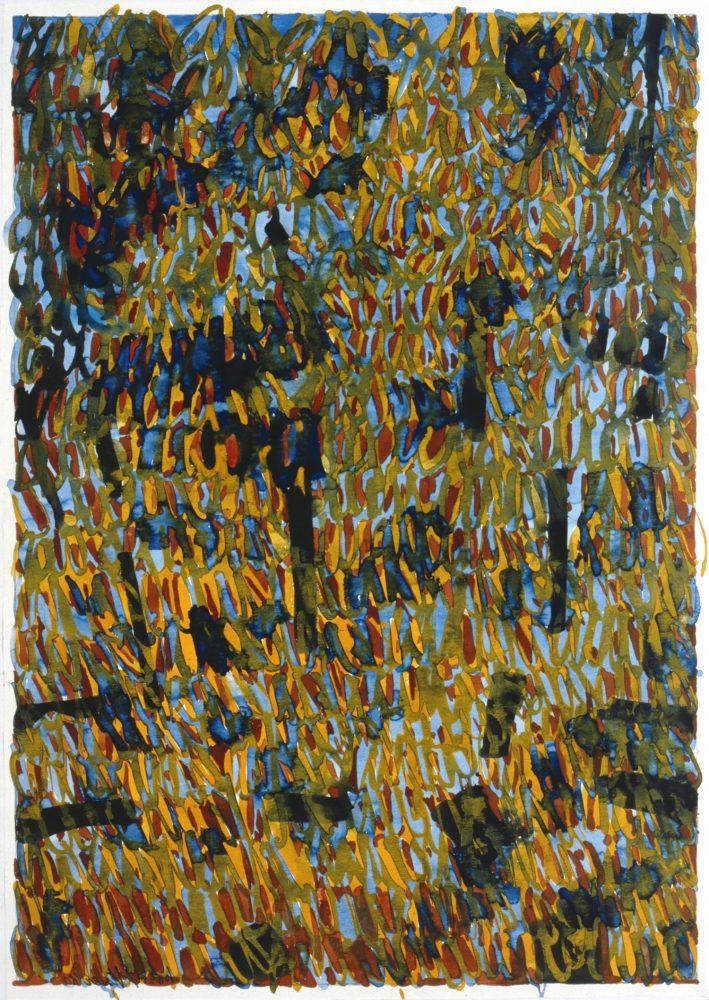 Harry Visser | Herfstboom blauw geel | aquarel